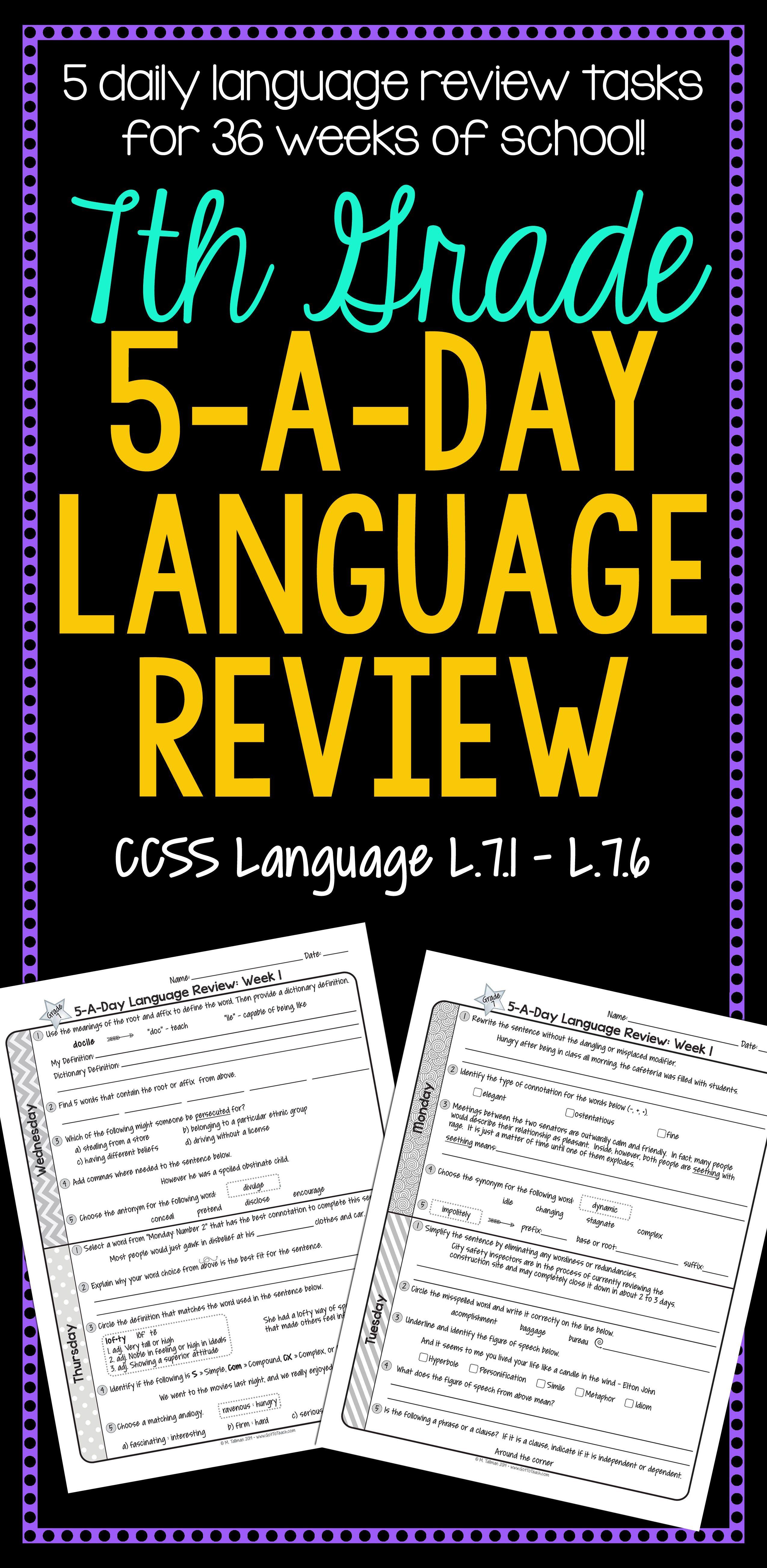 daily language review 7th grade pdf