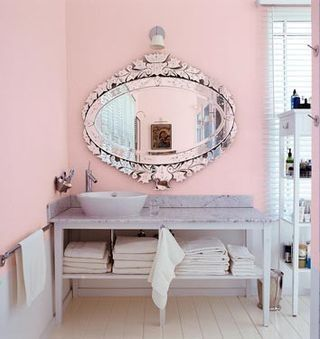 People Tend To Think That Pink Only Belongs In A Nursery Or S Bedroom We Disagree The Softness Of Pale Walls Amazing Venetian Mirror Mixed