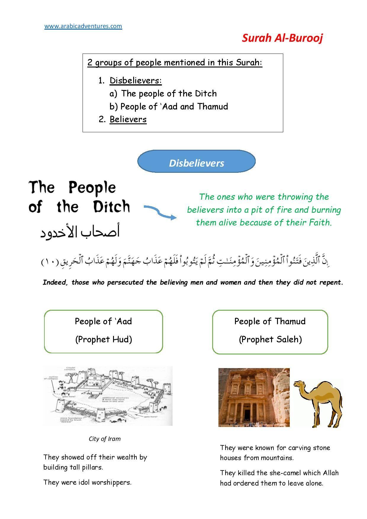 Surah Burooj Handout Page 001