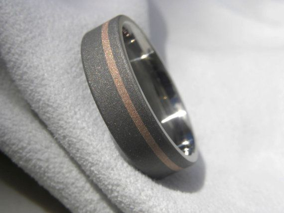 Titanium Rose Gold Inlay Ring Wedding Band By Titaniumknights