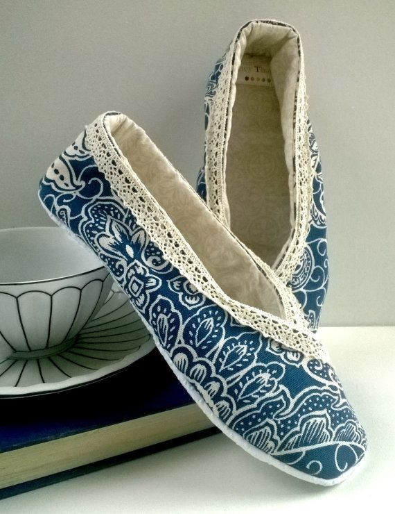 fabric slipper french blue cream ballet flat slippers kimono