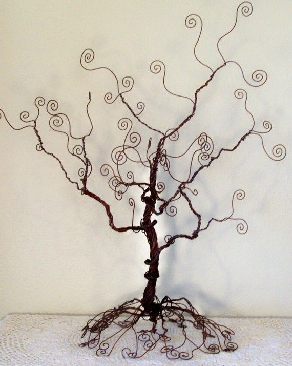 Wire tree stand jewelry holder sculpture by ivysgembox on Etsy