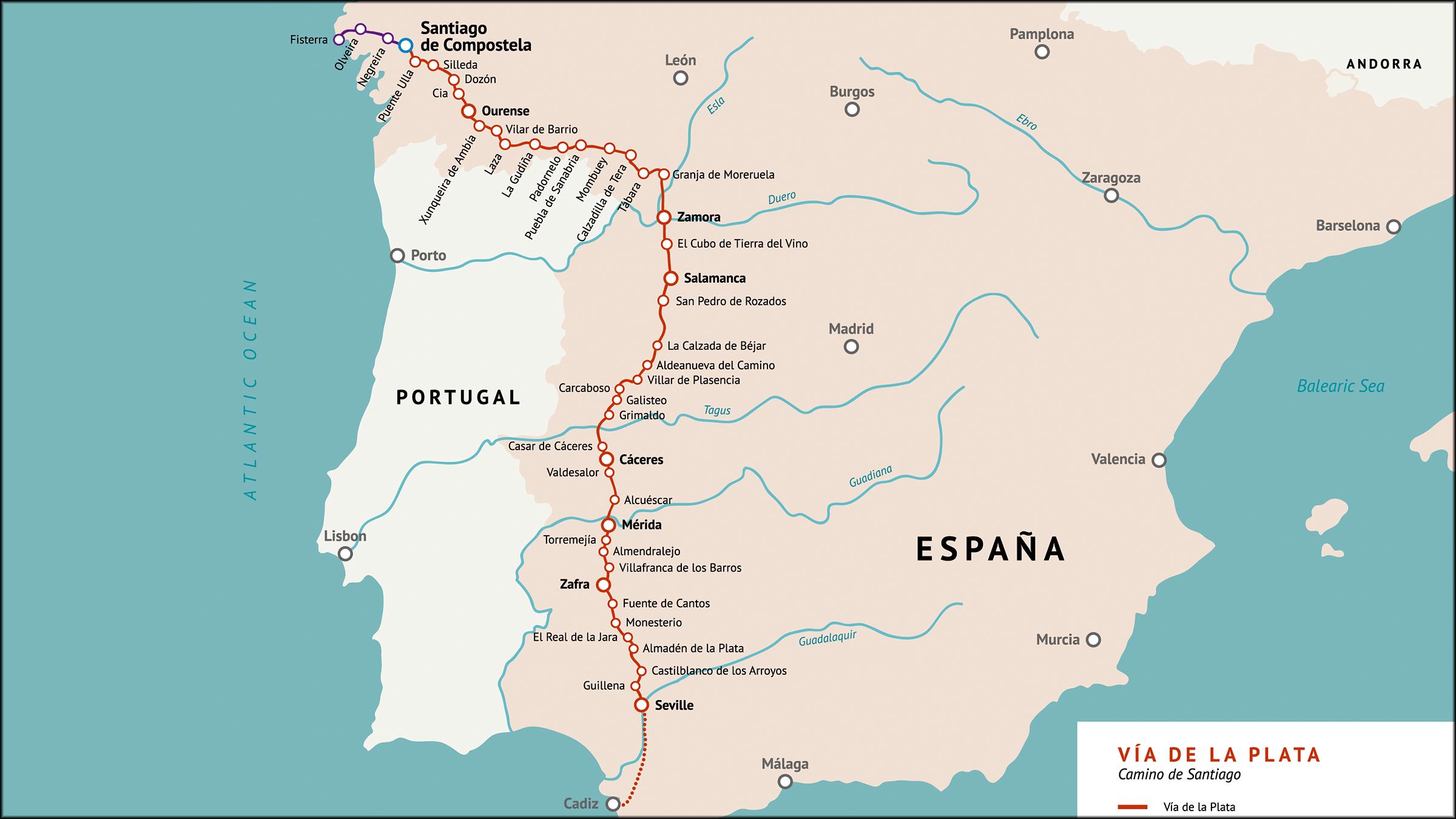 Mapa De La Vía De La Plata Camino De Santiago Camino De Santiago Vías Mapas