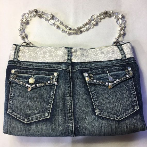 Denim Purse with Beaded Handles and Matching by Marilynsdreams