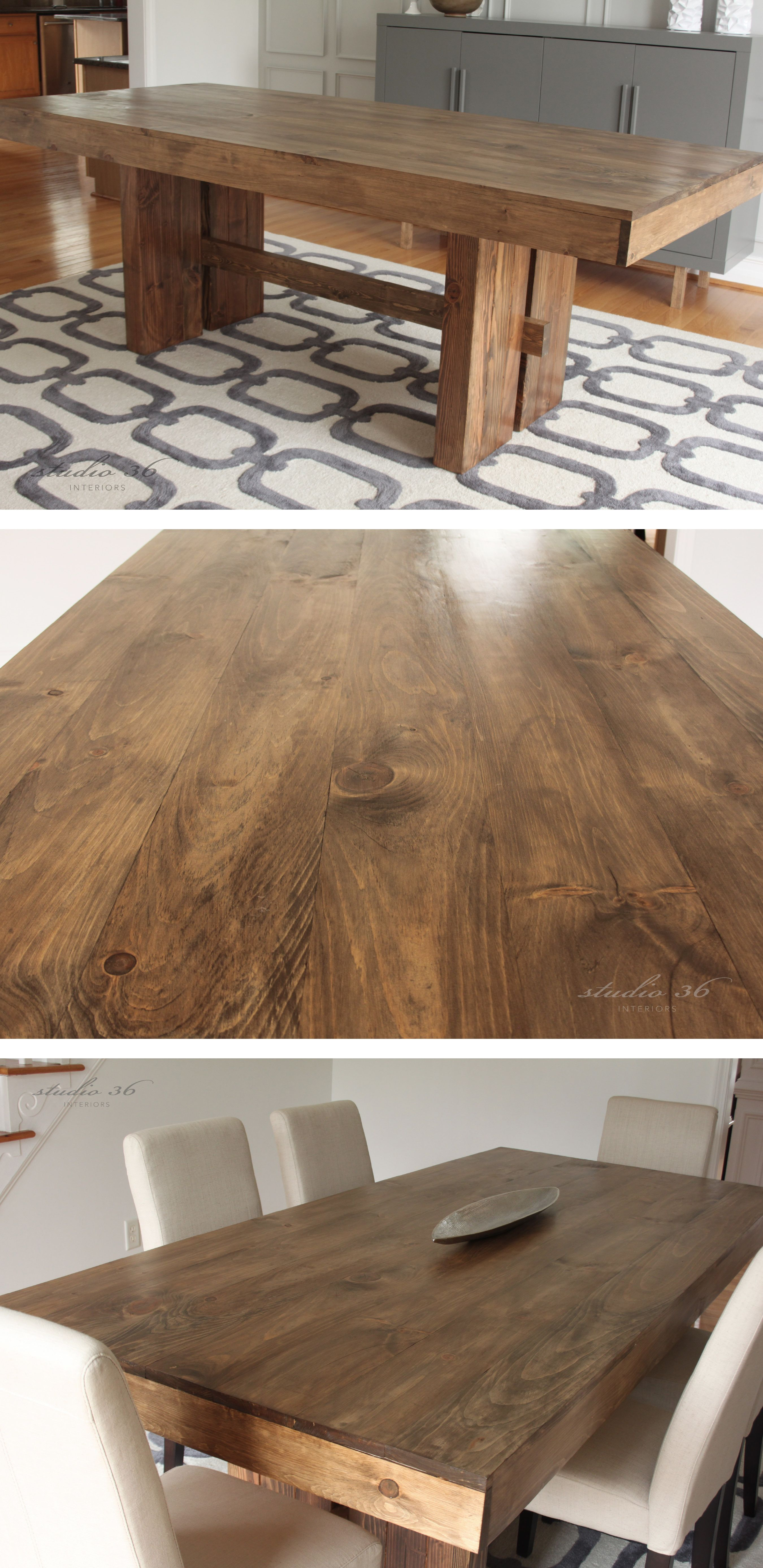 West Elm Inspired DIY Solid Wood Dining Table for $150 | Studio 36 Interiors