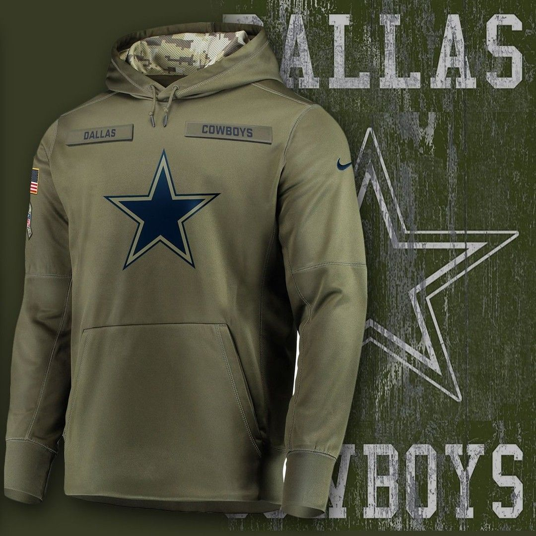 newest bbd3e 92aff dallas cowboys nike salute to service fleece pullover hoodie