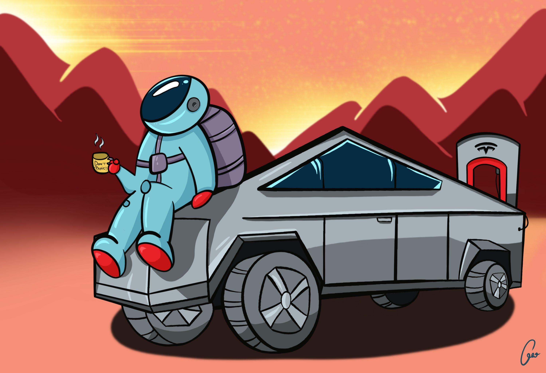 Spaceman Truck Drawing Cyber Truck Tesla Model X