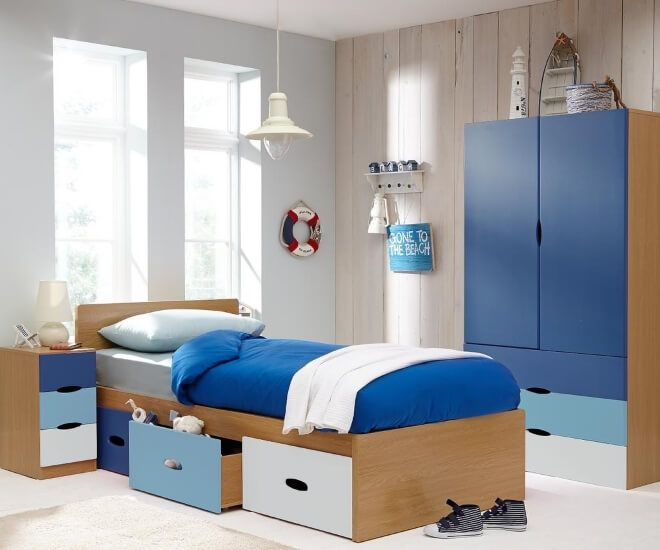 Modern Single Bed With Multi Colored Storage Drawers