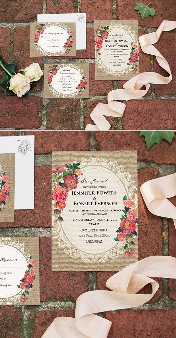 Chic Rustic Printed Lace And Burlap Floral Vintage Wedding Invitations