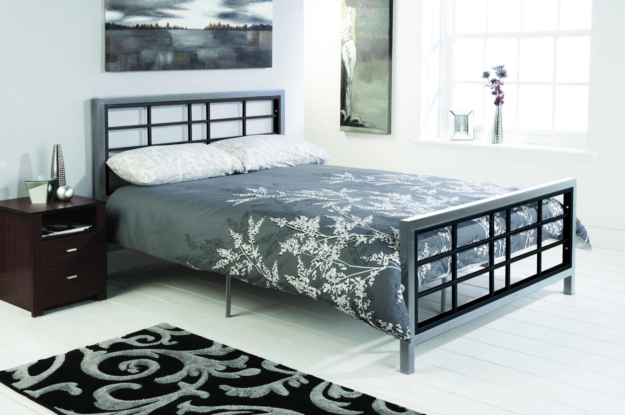 Best This Striking Two Tone Black And Silver Silver Bedstead 400 x 300
