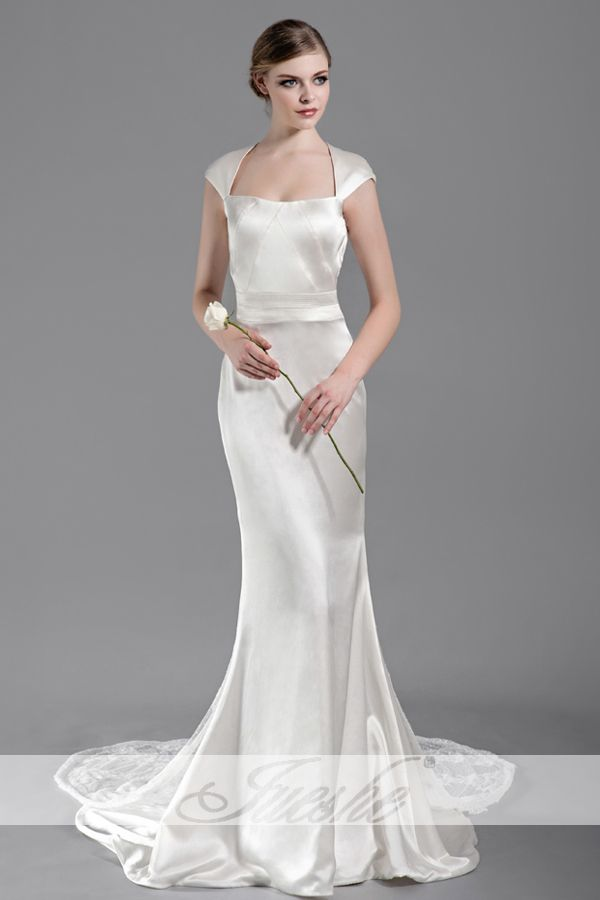 Classy square neck cap sleeves open back silk wedding for Satin silk wedding dresses