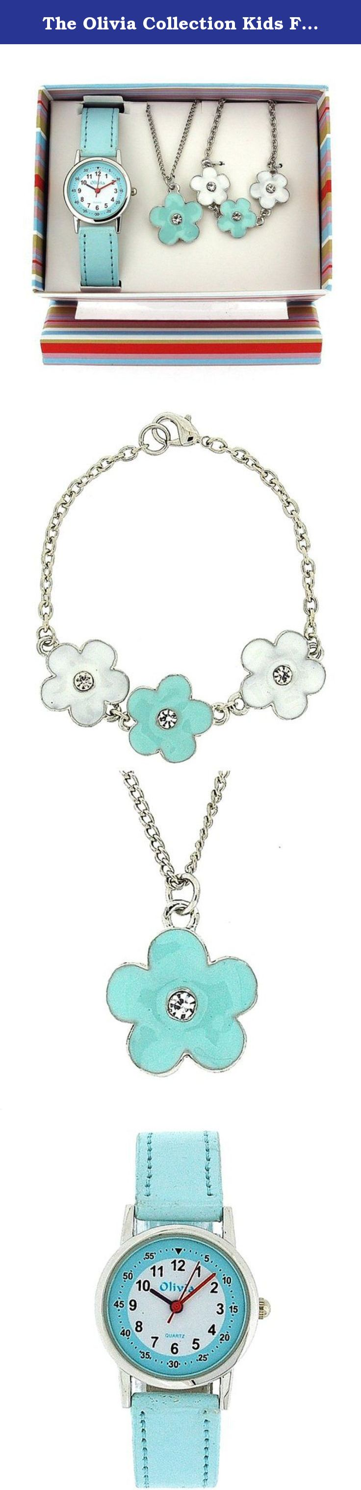 The olivia collection kids flower watch u jewellery gift set for