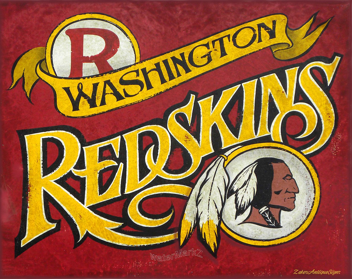 Washington Redskins Print Mat Art Washington Redskins