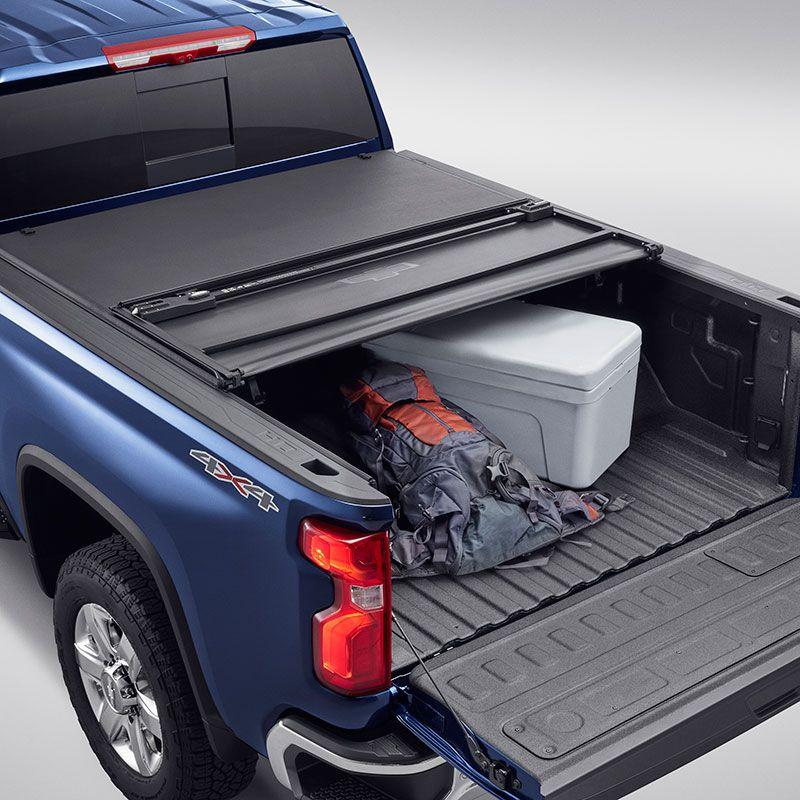 2020 Silverado 2500 Tonneau Cover Soft Tri Fold Black Standard Bed Bowtie Logo 84815933 In 2020 Tonneau Cover Silverado 2500 Chevrolet Accessories