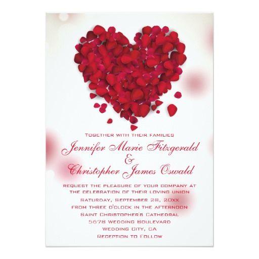 Red Rose Petals Love Heart Wedding Invitation