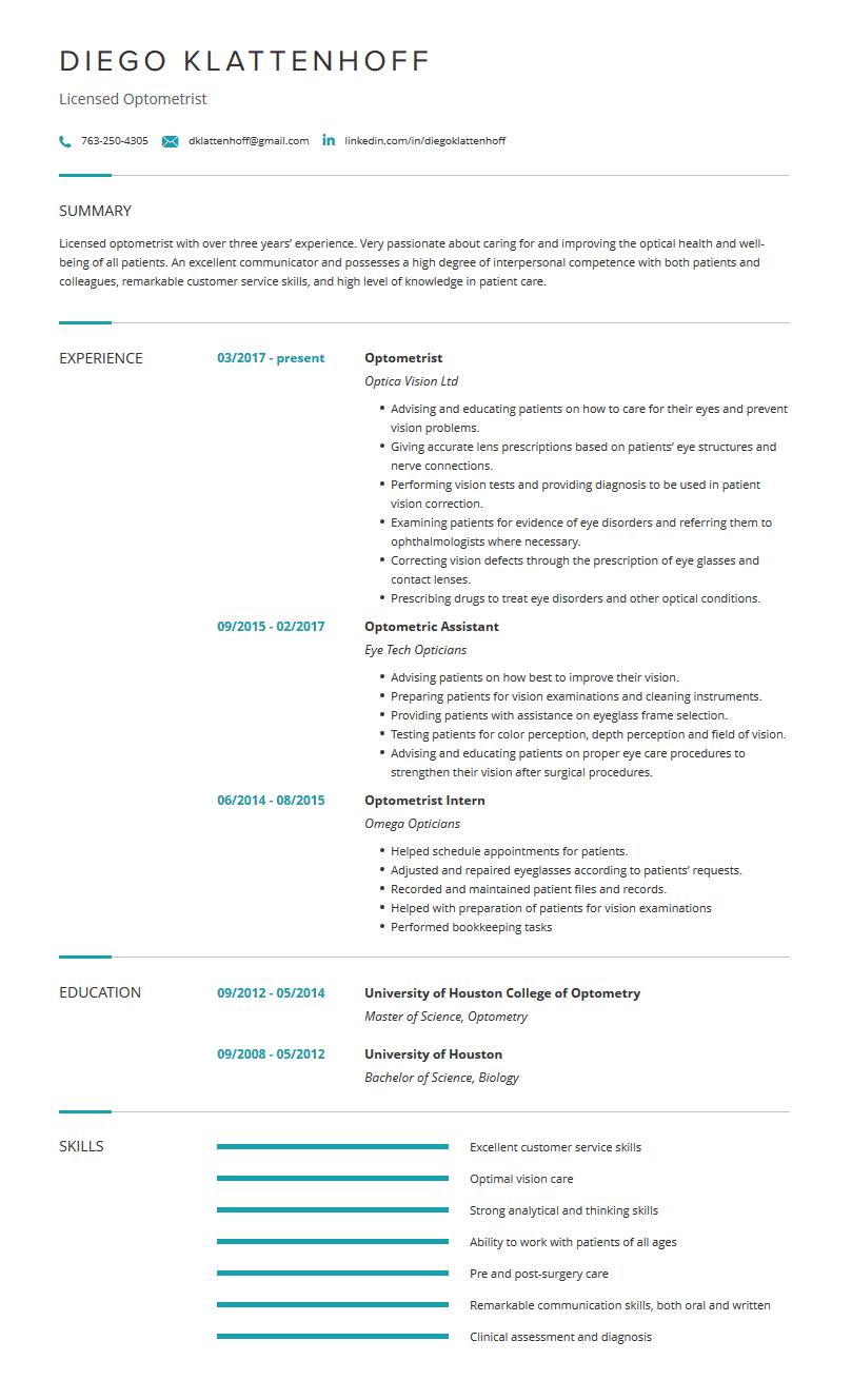 Optometrist Resume Sample And Complete Guide Optometrist Professional Resume Examples Good Communication Skills