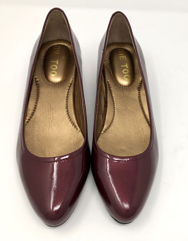 9665ce8c708e Me Too Womens Shoes Size 8 M Burgundy Red Leather Pump Low Wedge Heels Slip  On  MeToo  Classic  WorkorDress