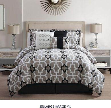 7 Piece King Mr  And Mrs  Print Comforter Set. 7 Piece King Mr  And Mrs  Print Comforter Set   bedding