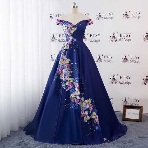 48b504cd3f3f8 2018 Evening Prom Ball Gown Dress Off Shoulder Navy Blue Satin ...