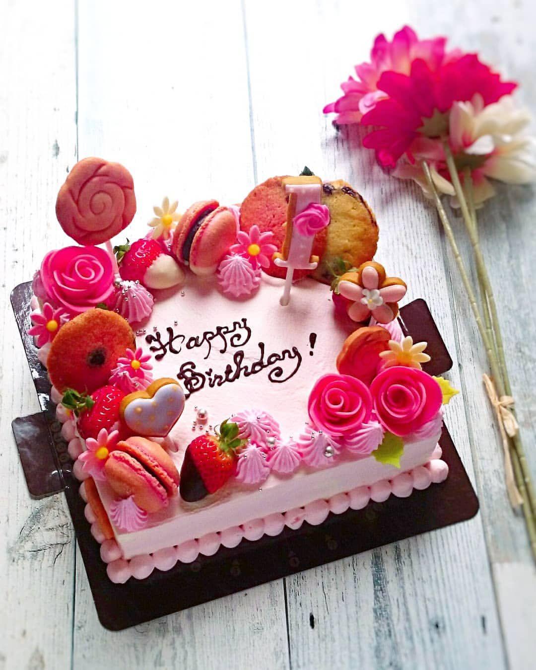 Michiko ミチコはinstagramを利用しています Birthday Cake チョコやマカロン いろんなクッキーで仕上げました 中は苺のシ Happy Anniversary Cakes Happy Birthday Wishes Cake Happy Birthday Cake Pictures
