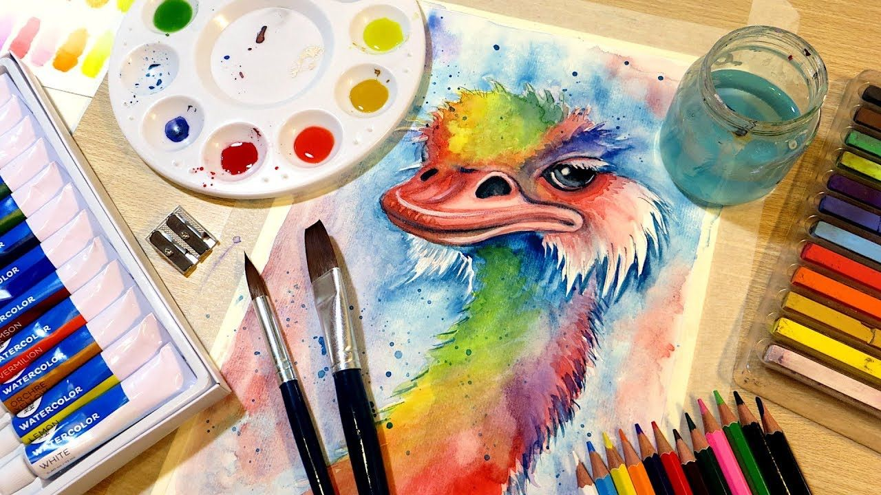 Abstract Watercolor Ostrich Watercolor Kit Unboxing Review