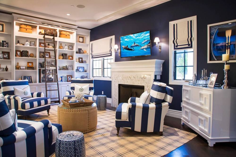 Nautical Theme Living Room Decor Preppy Beach House Navy Blue Beige White Bravado Design San