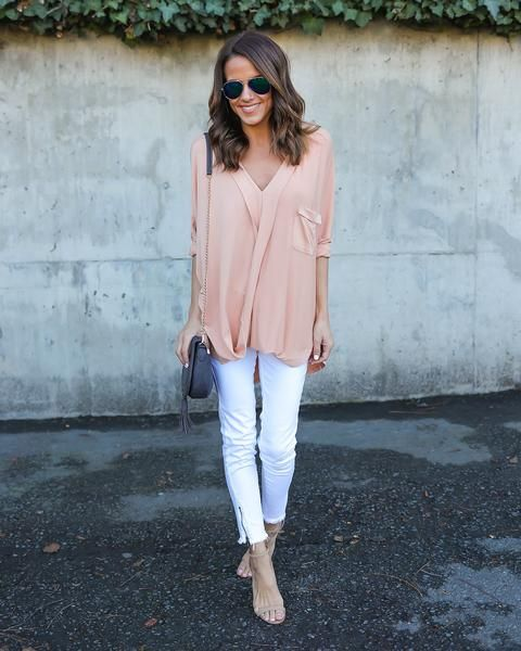 Free Time Pocketed Drape Top - Peach