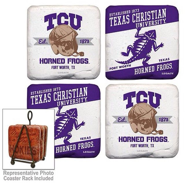 $29.99 Set of 4 Coasters with Stand. Made in the USA. Item can be purchased at the Frisco Mercantile located at 8980 Preston Road, Frisco, TX 75034 or the Richardson Mercantile located at 101 S. Coit Road, Richardson, TX 75080.  Item can also be purchased directly from me and shipped.  Email/call/text for additional information texasfirepony@gmail.com  806-576-6393. #texasfirepony #friscomercantile #friscomercantilefriscotexas #richardsonmerc #richardsonmercantile #tcu #hornedfrogs…