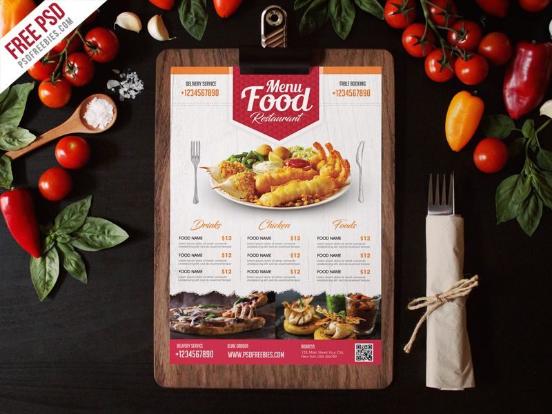 Simple Restaurant Food Menu Flyer Template Psd Goruntuler Ile