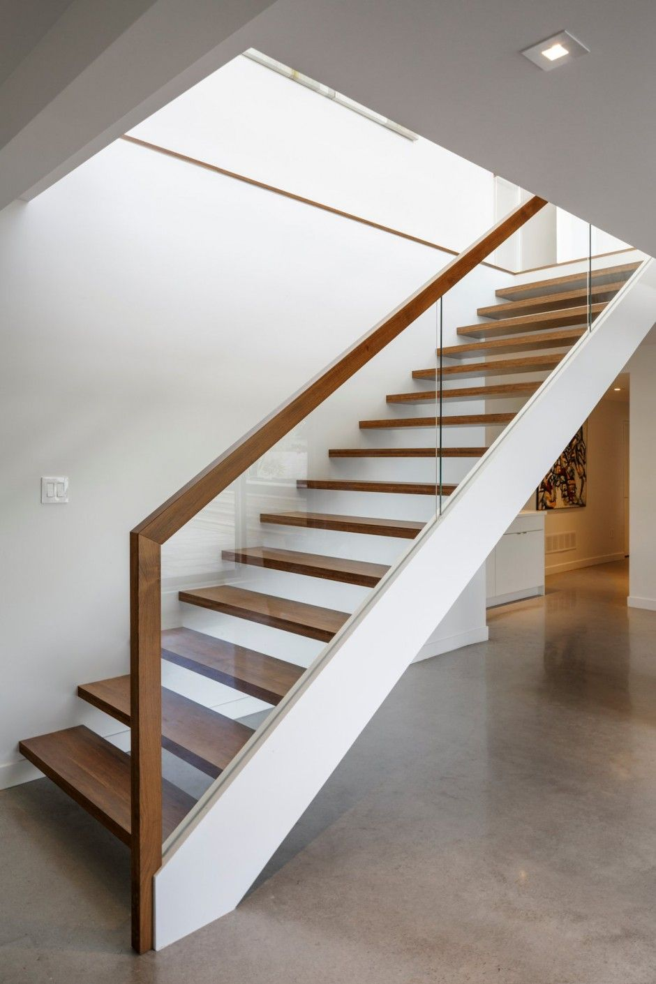 stair design details - glass with wood railing - interior design details -  Dunrobin Shores / Christopher Simmonds Architect