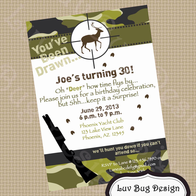 Hunting Birthday Invitation printable party invite by Luv Bug Design ...