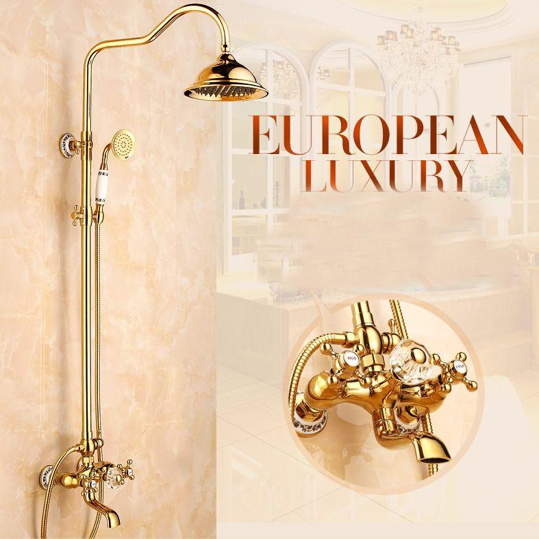 L15921 - Luxury Gold Color Brass Rainfall Shower Faucet Shower ...