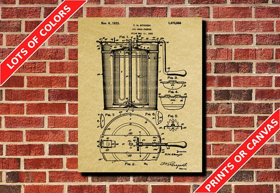 Ice Cream Machine Patent Print Design Cafe Art Poster Blueprint Art - best of blueprint cafe address