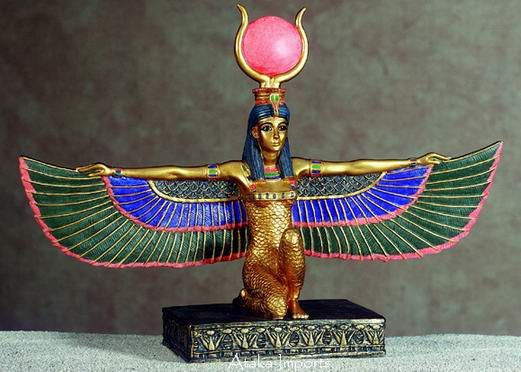 Collectible Figurine Statue Figure Egyptian Isis With Open Wings
