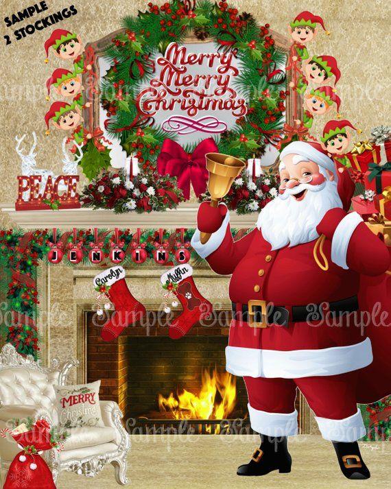 personalized names on stockings beautiful christmas santa fireplace rh pinterest com
