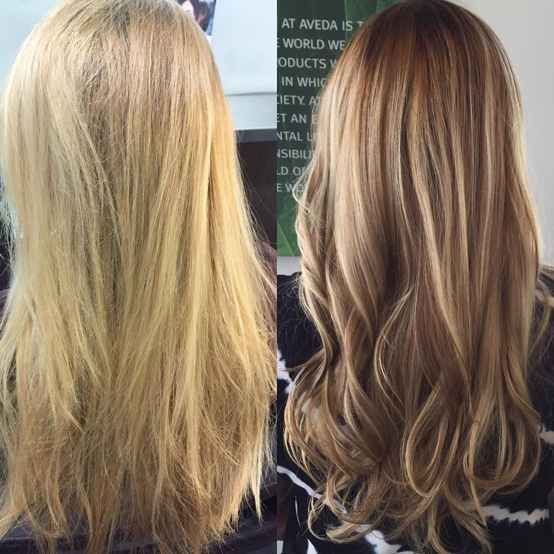 Lowlights In Blonde Hair Before And After Before And After Blonde To Brunette Highlights And Balayage Long Hair Brunette Highlights Balayage Hair Blonde