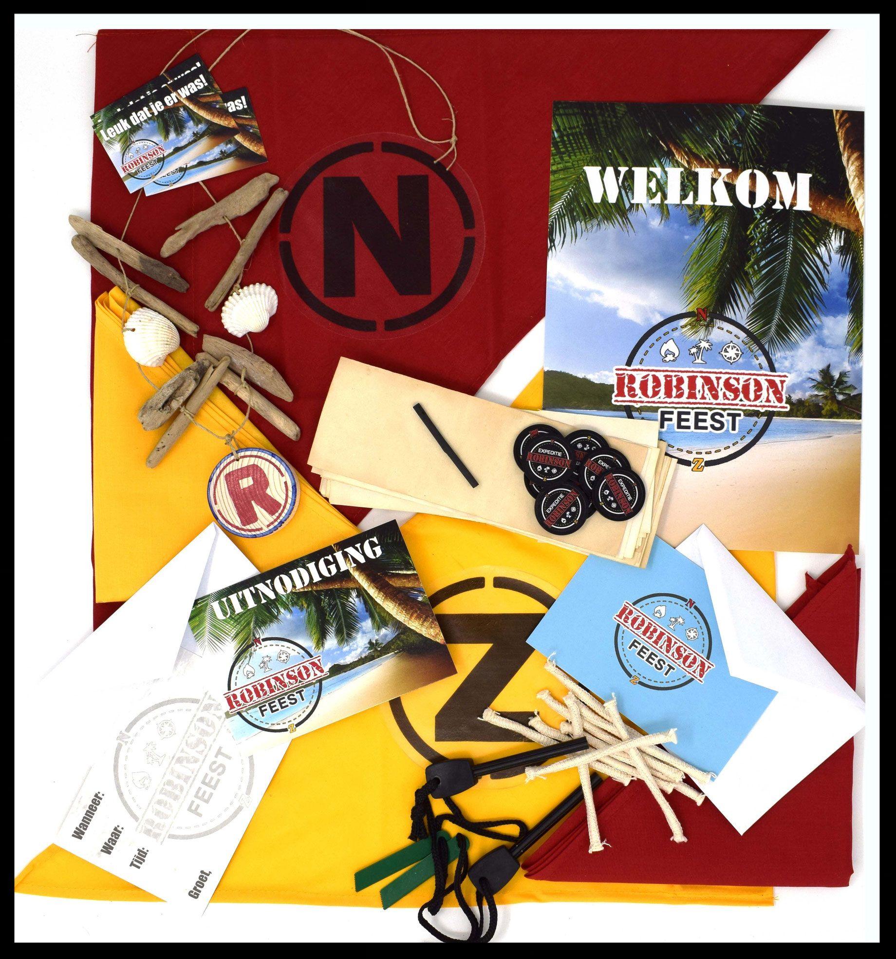 Kinderfeestje met origineel draaiboek en uitnodigingen gebaseerd op het thema Expeditie Robinson. Met spannende survival opdrachten, samensmelting en spannend eindspel.