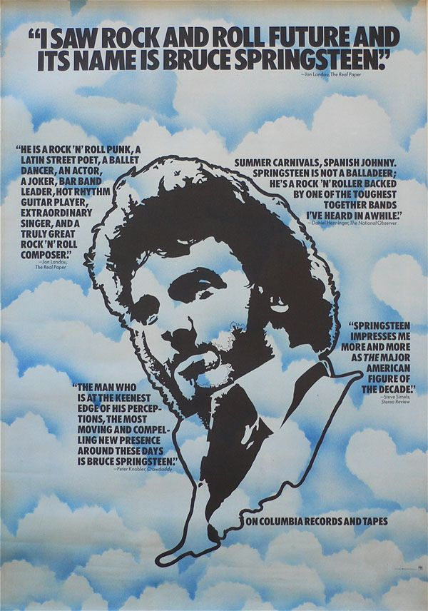 Bruce Springsteen Rare 1974 Clouds Promo Poster Recordmecca Bruce Springsteen Rock And Roll Concert Posters