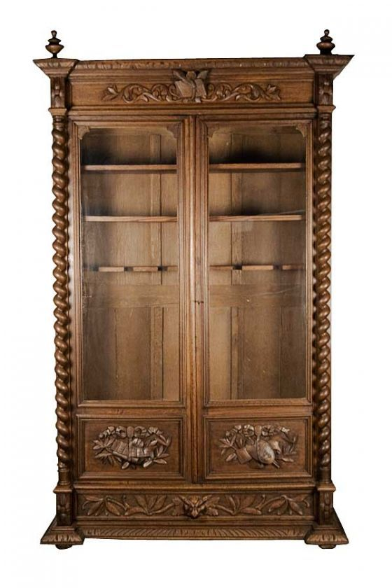 Antique French Carved Oak Converted Bookcase Locking Gun Cabinet - Antique French Carved Oak Converted Bookcase Locking Gun Cabinet