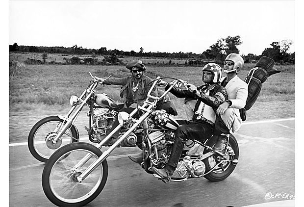 Easy Rider, captured by John Springer. From left to right: Dennis Hopper as Billy, Peter Fonda as Captain America, and Jack Nicholson as George Hanson.