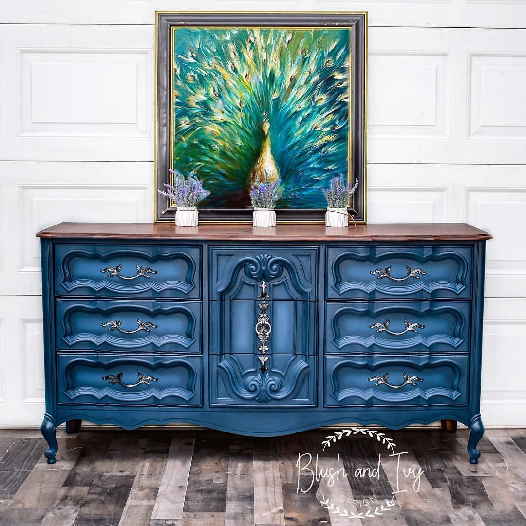 Perfectly blended peacock blue French provincial dresser  ...