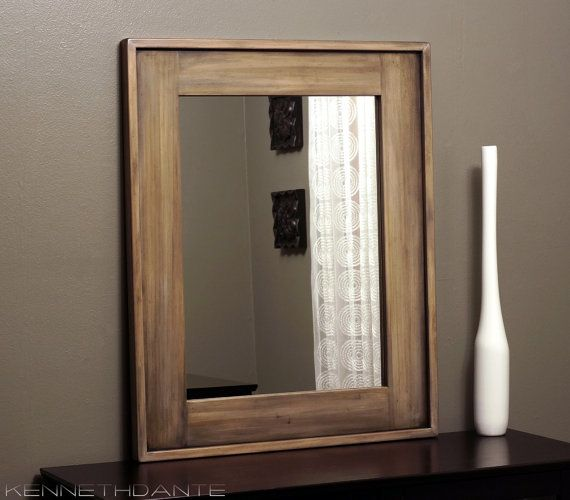 Distressed Mirror Weathered Wood Frame Natural Decorative