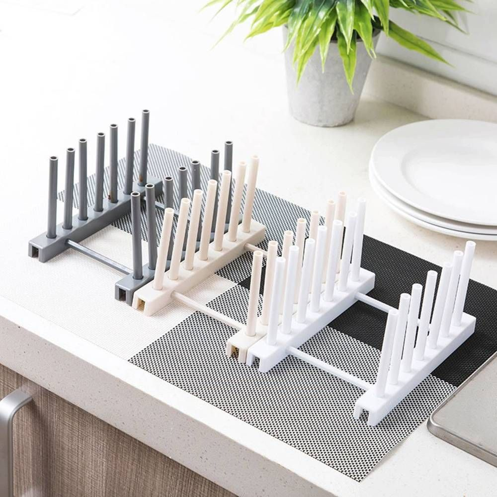 Details About Kitchen Plate Cup Rack Pot Lid Holder Plastic Drying