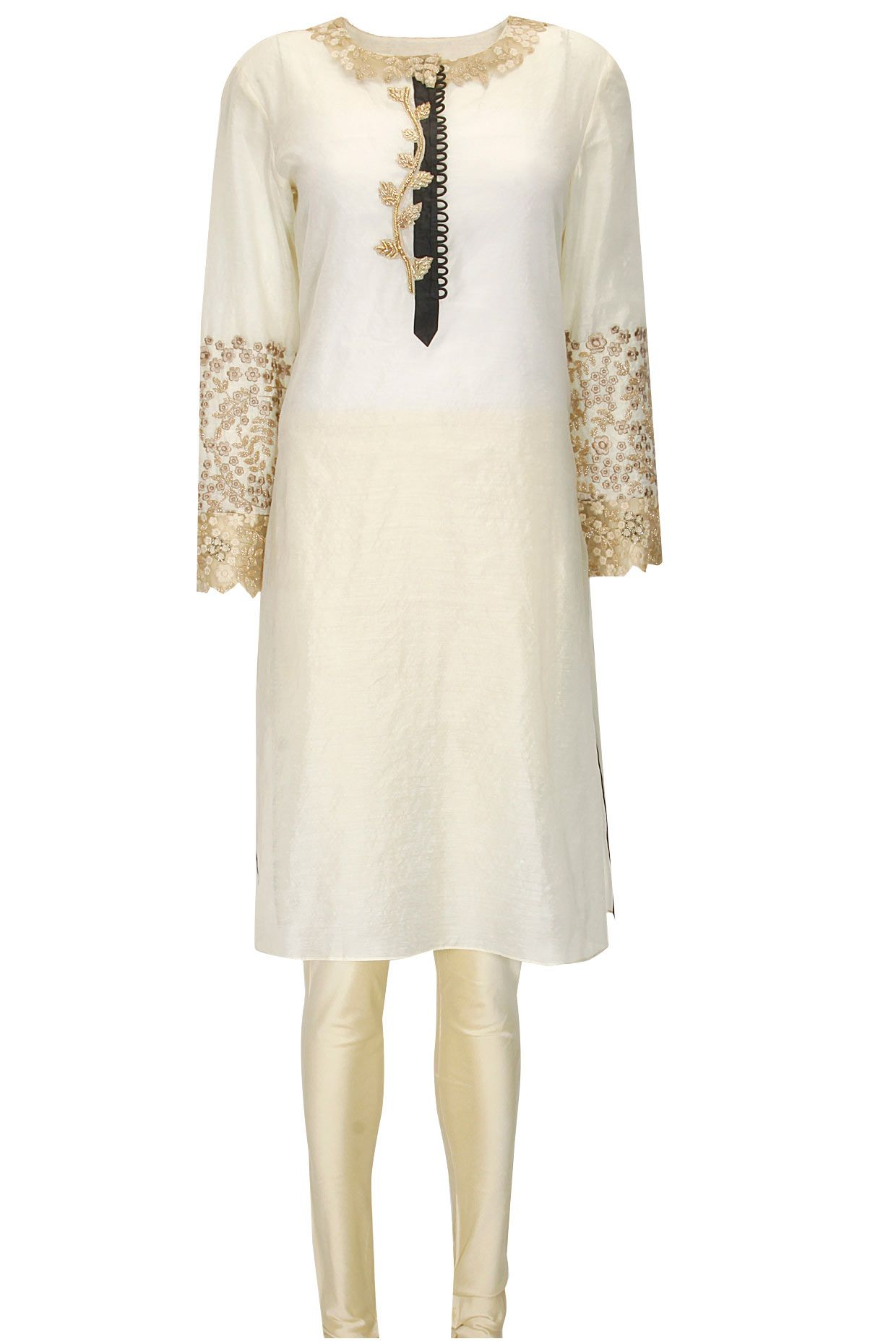 Ivory and gold floral embroidered kurta set available only at ...