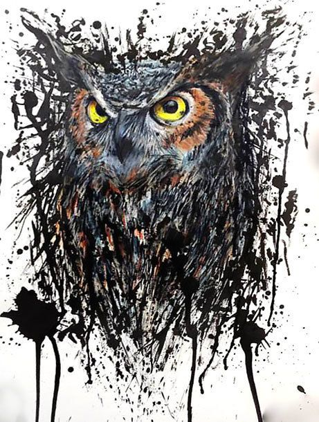 Awesome Black Splashy Owl Design Owl Tattoo Design Owl Tattoo Owl