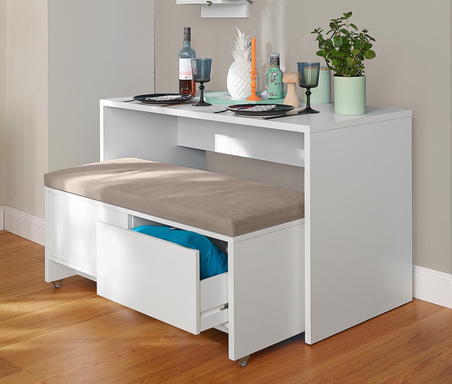 Auf Kleinem Raum Entstehen Die Besten Ideen Für Schöne Und Praktische Möbel.  Dieses Intelligente Set Besteht Aus Einem Tisch Und Einer Rollbaren  Sitzbank.