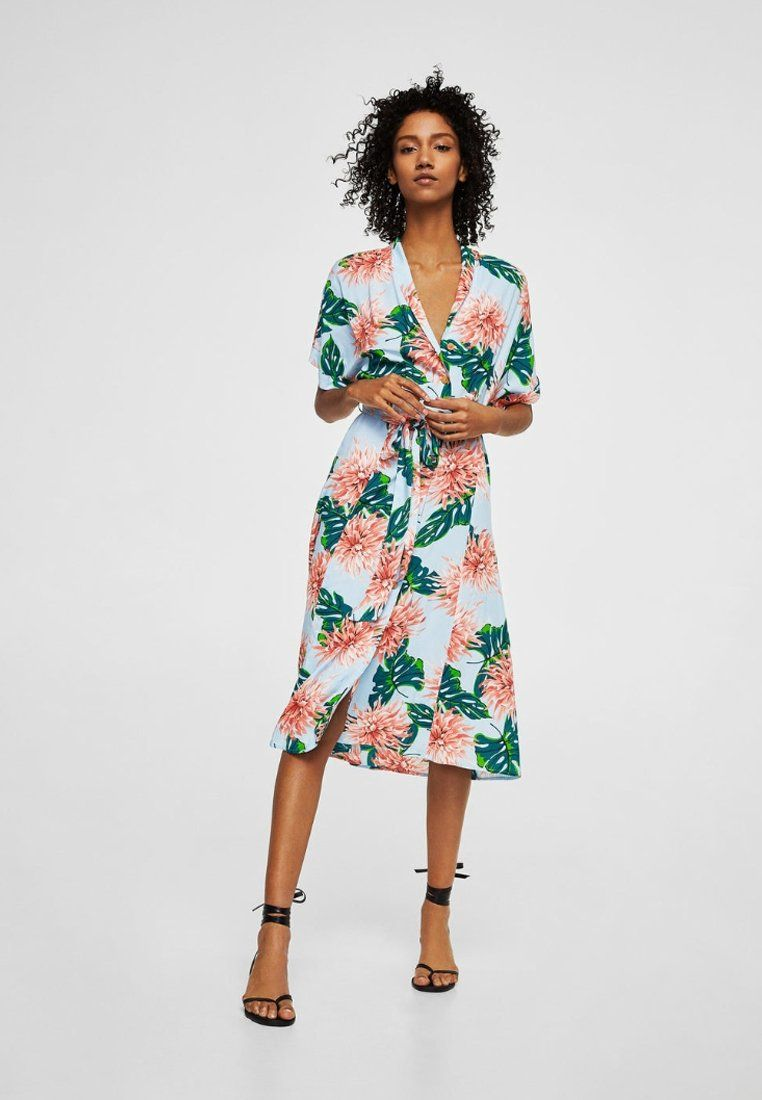 Mango Robe Maxi Jurk Blue Zalando Nl Belted Floral Dress Womens Floral Dress Blue Midi Dress [ jpg ]