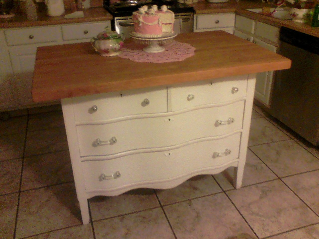 Hypnotic Antique Dresser Kitchen Island With Faux Butcher Block Countertops Also Vintage Pedestal Cake Stand In White From Plans