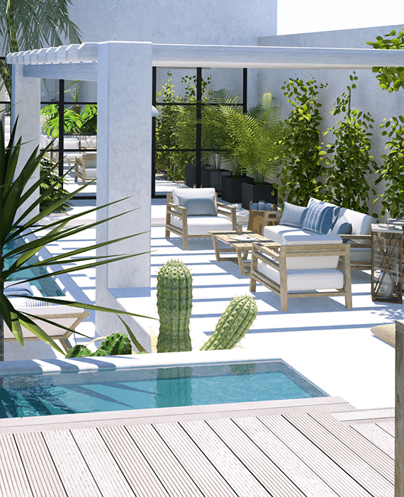 Un patio contempor neo de aire tropical swimming pools for Limpio jardin contemporaneo
