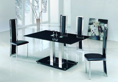 SAVIO SMALL GLASS CHROME DINING ROOM TABLE AND 4 CHAIRS SET  120 Cm    (IJ601 895 | EBay £299